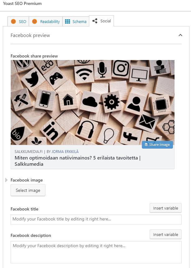 sosiaalinen media Yoast SEO laajennusosa